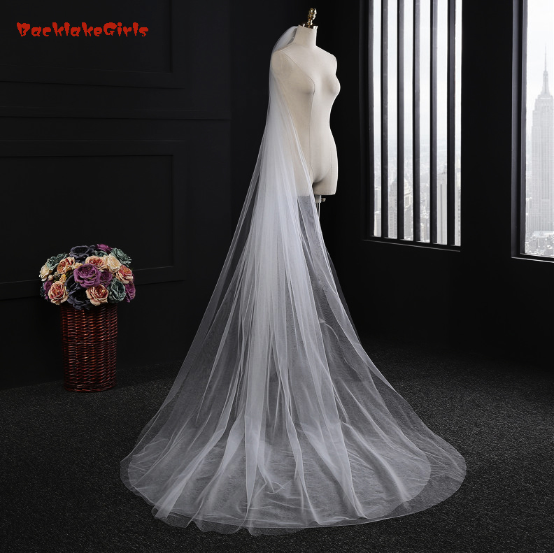 Cheap Long Cathedral Bridal Veil With Comb Two Layer 3 Meters Wedding Veils Cut Edge Weddings Accessories Voile De Mariage 2016