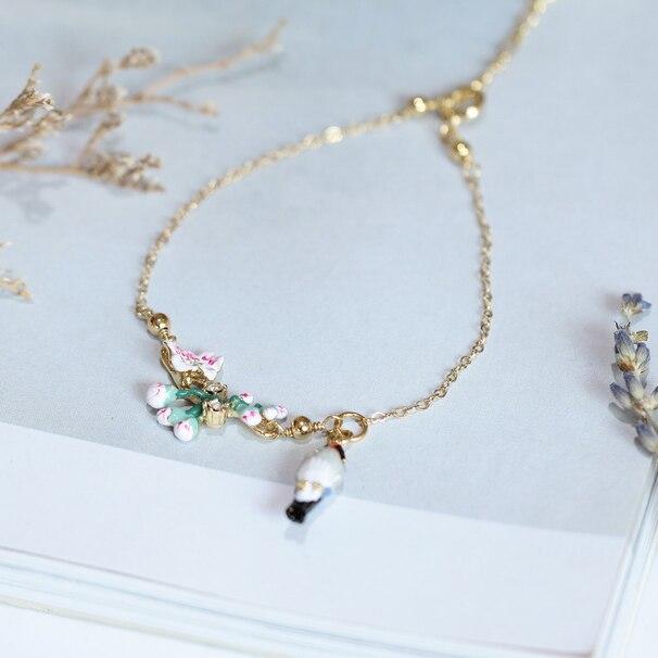 New Arrivals Enamel Glaze Romantic Cherry Blossoms Tweet Bird Gold-plated Bracelet Tit Birdie Bracelet Woman