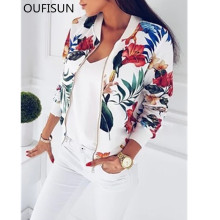 d7b0678d1755a1 ... Product Oufisun Autumn Retro Floral Print Women's Coat Casal Longsleeve  Zipper Up Bomber Women Outwear Jacket Coats Ladies Clothes 2019 ...