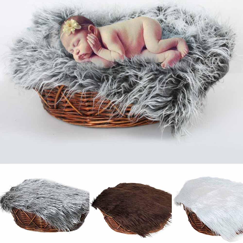 Streng 50*50 Cm Pasgeboren Baby Baby Nep Bont Tapijt Deken Fotografie Foto Achtergrond Props Mand Stuffer Filler Achtergrond Faux Bont Bright Luster