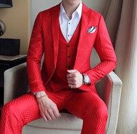 Красный, костюм на выпускной вечер, роскошные ЖАККАРДОВЫЕ мужские формальный костюм к ужину мужской свадебный костюм белый черный Кофе сер