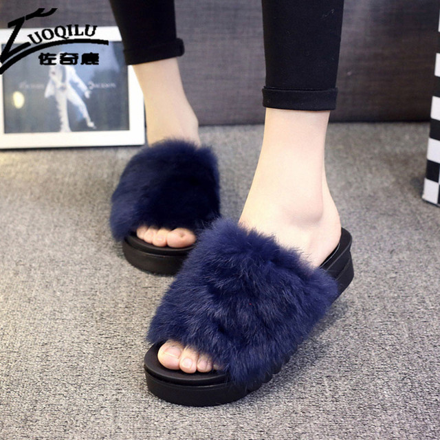 Женщин Сальто Сальто 2016 Шерсти Зимы Теплый Обувь Женщина Тапочки Платформы Способа Женский Слайды Обувь Женщины Плоские Тапочки Для Дам