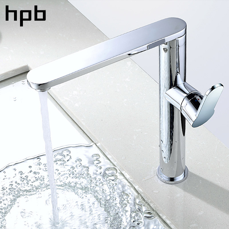 HPB Brass Chrome Sink Faucet for Kitchen Mixer Tap Single Handle 360 Degree Rotation Hot And Cold Water Contemporary micoe hot and cold water basin faucet mixer single handle single hole modern style chrome tap square multi function m hc203