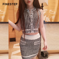 Striped Skirts Women 2018 Two Piece Set Skirt and Crop Top Two Piece Set Skirt White and Black Womens Knitted Skirt Suits