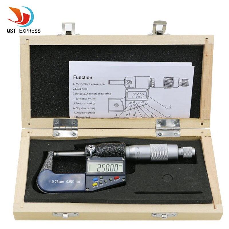 Digital Micrômetro 0-25mm 0.001mm Metric/Polegada Eletrônico Fora Micrometro de Carboneto de Ponta