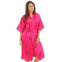 Oversize XXXL Women S Kimono Solid Hot Pink Bridesmaid Wedding Robe Gown Ladies Home Leisure Nightgown