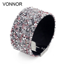 VONNOR Jewelry Bracelet for Women Magnetic Clasp Bracelets & Bangles Natural Beads Stone Resin Rhinestone Female Accessories