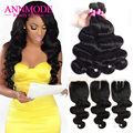 7A Brazilian Virgin Hair Body Wave With Closure 3 Bundles with Closure Brazilian Body Wave with Closure Human Hair with Closure