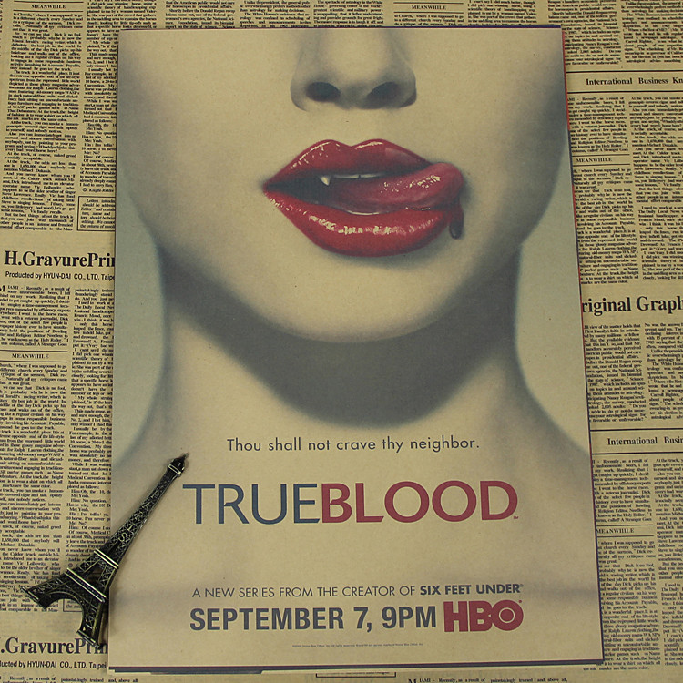 True Blood 24 Hours Classic Movie Kraft Paper Poster Bar Cafe Living Room Dining