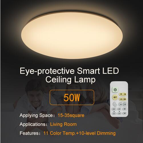 Hot Modern Smart Remote Control Eye Protective LED Ceiling Lamp 10 Level  Dimming Home