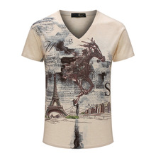 Horse Printed T shirt 2017 Brand Casual Top Quality Tees Eiffel Tower Painting Men s Big