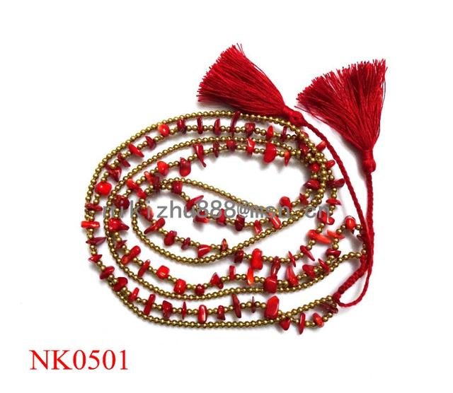 new fashion long red coral tassel pendant necklace for women colar
