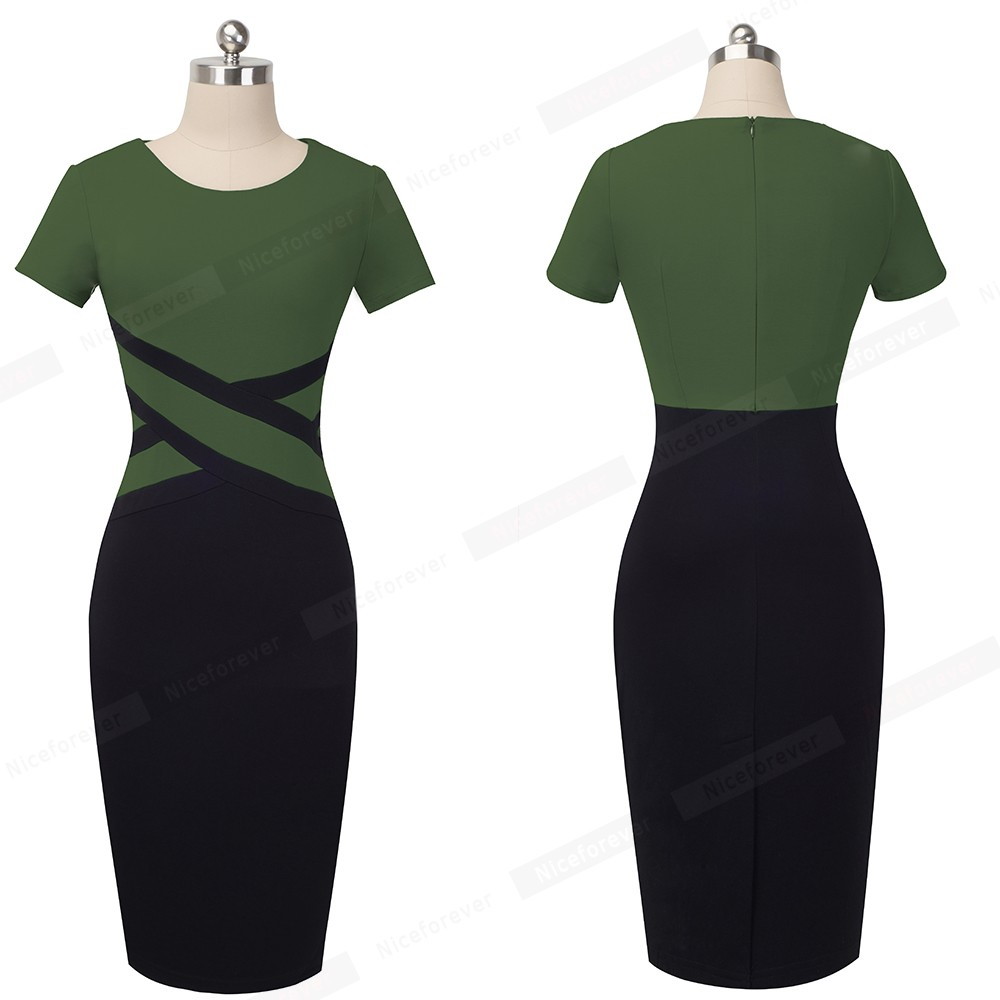 Nice-forever Vintage Elegant Contrast Color Patchwork Wear to Work vestidos Business Party Office Women Bodycon Dress B463 5