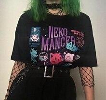 kuakuayu HJN Neko Mancer T-Shirt Unisex Cute Aesthetic Grunge Black Tee Satantic Gothic Clothing Witch Shirt