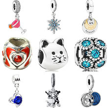 New Arrived European Beads DIY Jewelry Cat Butterfly Shantou Crystal Pendant Beads Fit Pandora Charms Bracelets Women Berloques(China)