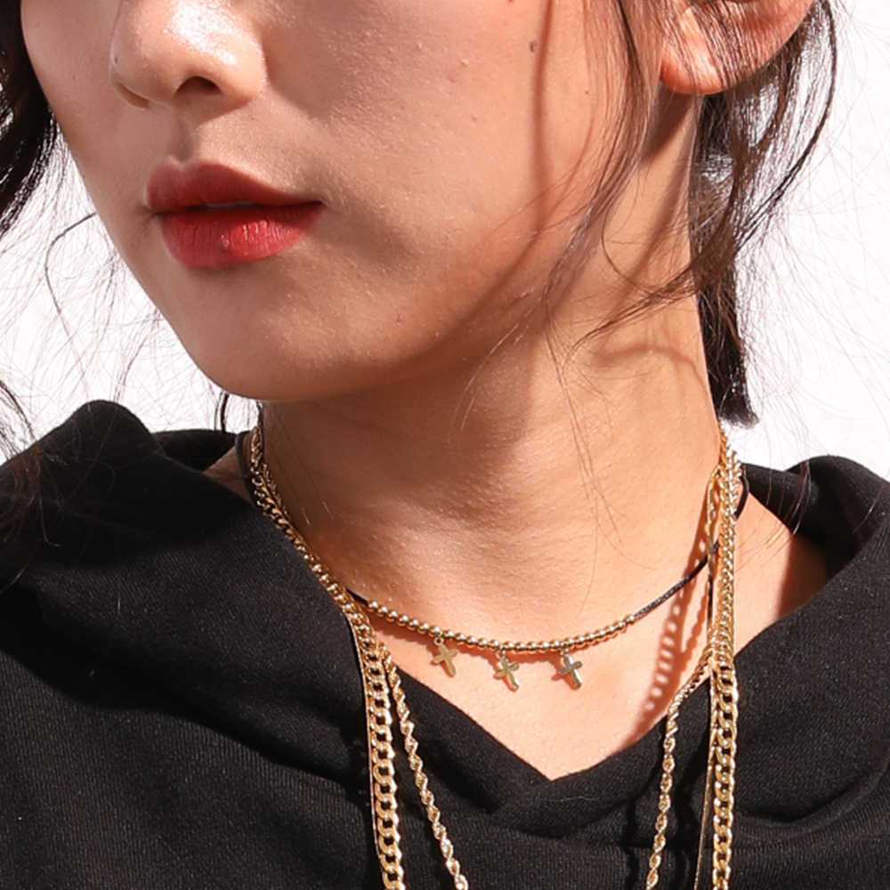 eManco Hot Cross Choker Necklaces For Women Stainless Steel Pendant Necklaces Trendy Gold Color Bead Rope Chain Fashion Jewelry