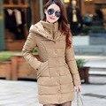 Parka Mulheres Casacos de inverno 2016 novas Mulheres Jaqueta Casaco de Inverno Longo Fino Espessamento Quente Para Baixo Algodão-acolchoado Jacket Feminino Outerwear