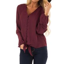 2019 New Long Sleeved Blouses Women Sexy V Neck Button Chiffon Blouse Tops Solid Bandage Casual Lady Blouse Shirt Women Clothing все цены