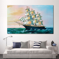 Oil Painting Picture Home Sailing Boat Decor Living Room Modern Canvas Print Painting No Frame Painting