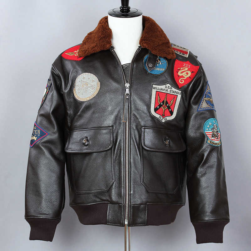 ea891722531 Avirex fly Air Force Flight Jacket Genuine Leather Jacket Men Cow Leather  Bomber Jacket Men G1 Real Leather Winter Coat Male