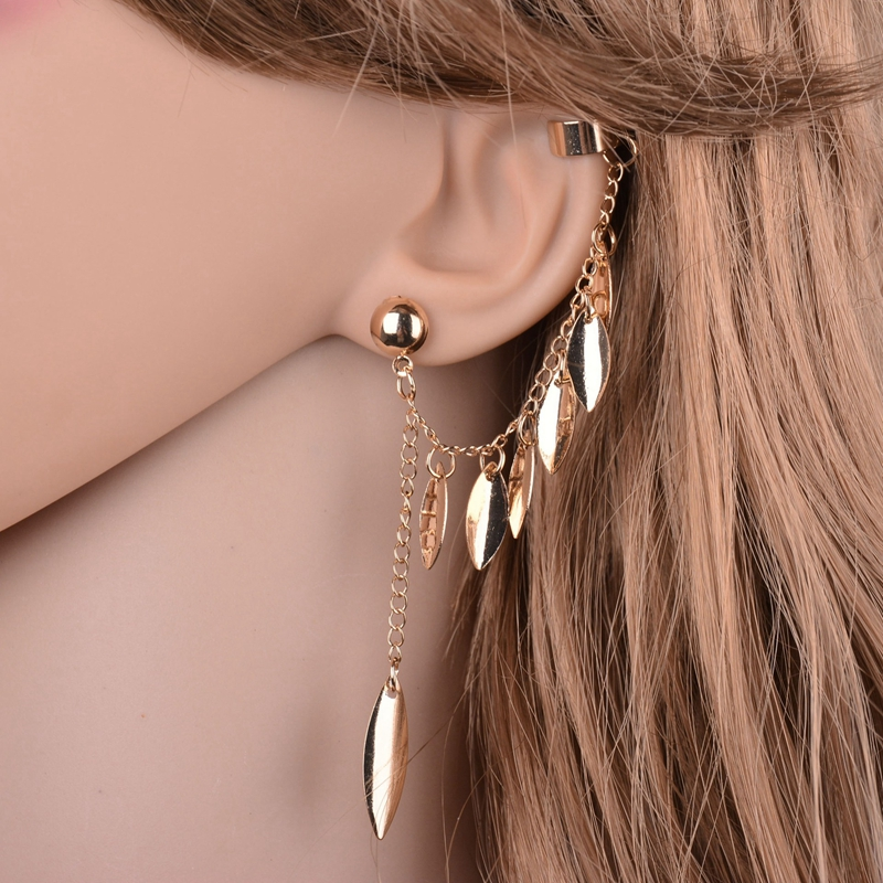 Women Jewelry New Fashion Without Piercing Earrings The Leaves Clip Earrings For Women Triangle Crystal U-Shaped Ear Bone Cuff