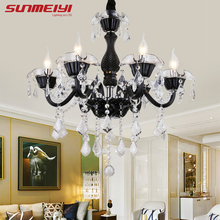 Modern LED Crystal Black Chandeliers lampadario camera da letto Bedroom Living room Hotel Ceiling
