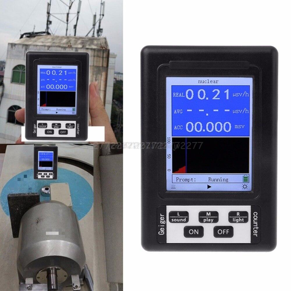 Atualização geiger contador detector de radiação nuclear dosímetro mármore tester x-ray beta gamma display tela radiação my02 19