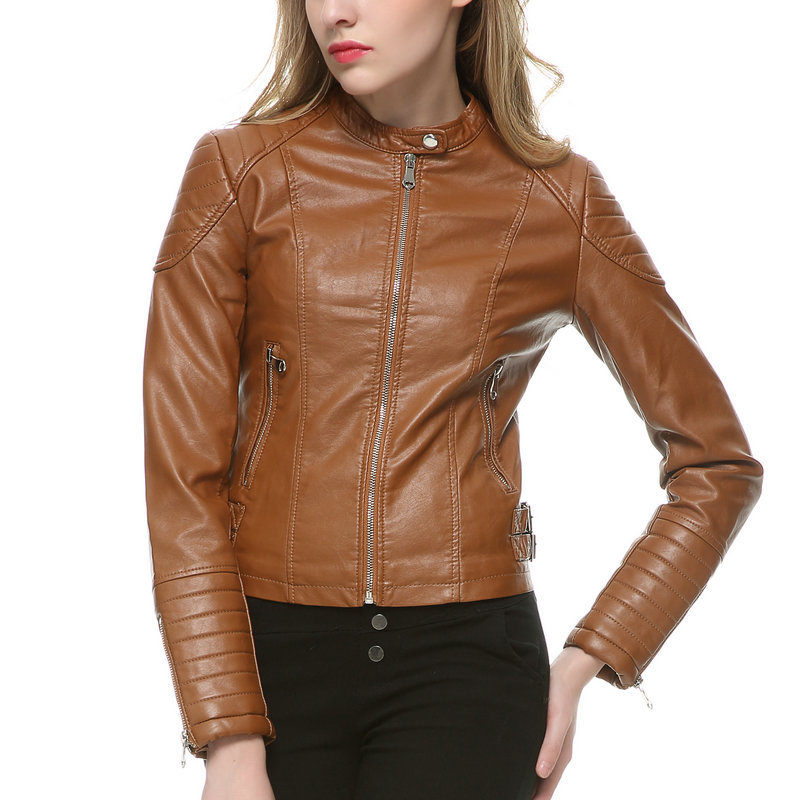 Popular Faux Brown Leather Jackets for Women-Buy Cheap Faux Brown ...