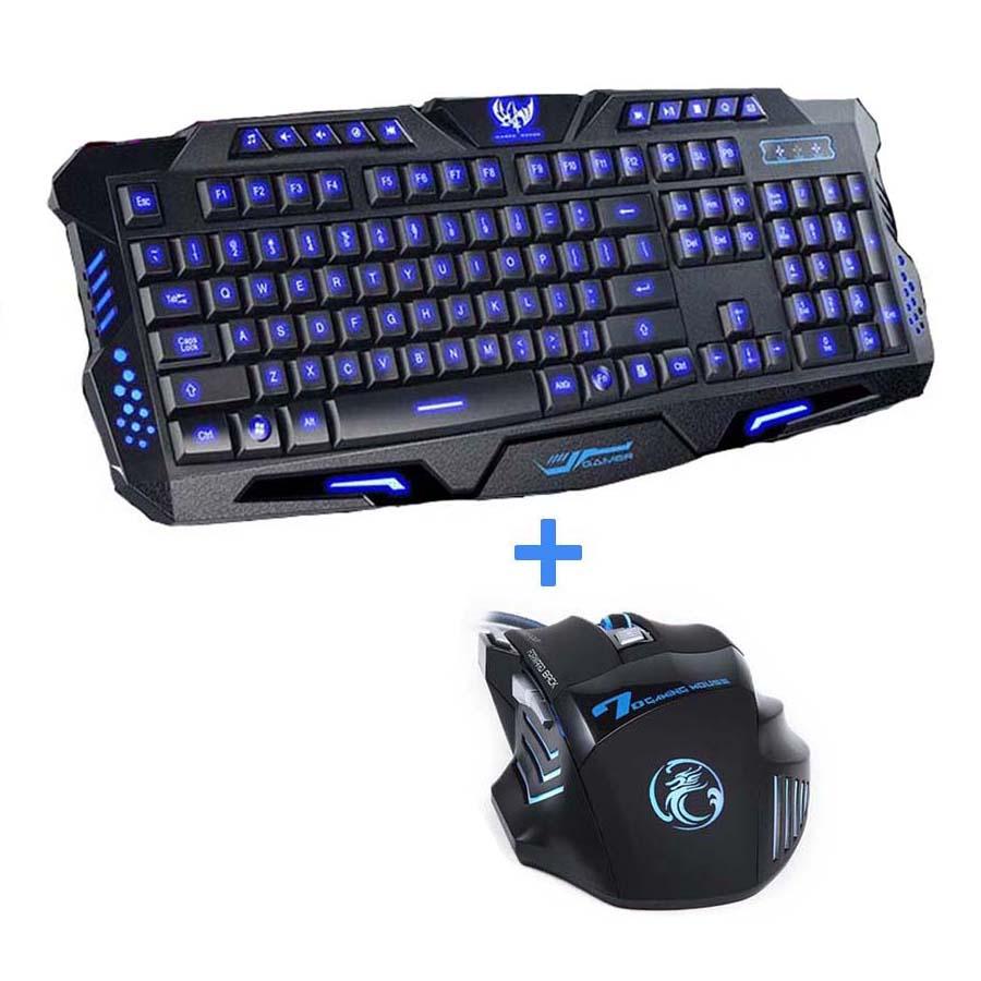 Prix pour Rouge/Pourpre/Bleu Rétro-Éclairage LED Pro Gaming Clavier M200 USB Filaire Alimentée Pleine N-Clé 7 Boutons 5500 DPI Souris Ordinateur Périphérique