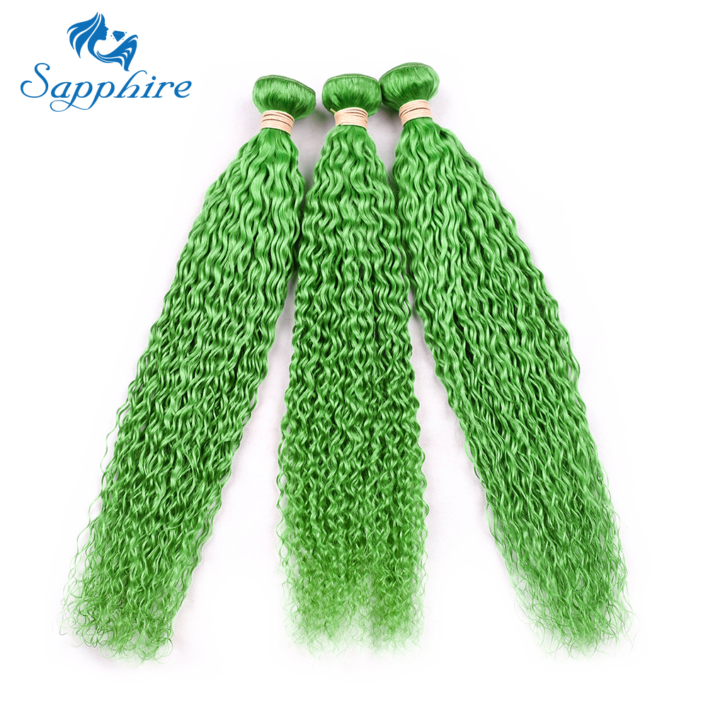 Sapphire Brazilian Kinky Curly Human Hair Extensions 8-28inch Pre-Colored GREEN Color Human Hair Bundle 3 PCS Weave Bundles