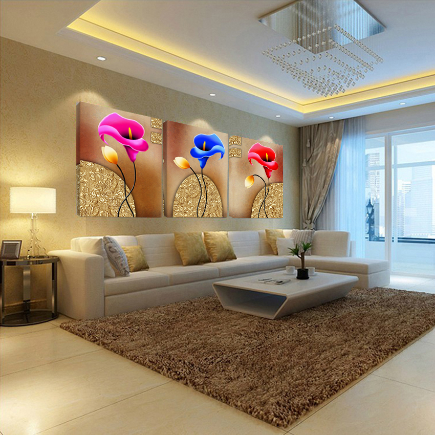 3 Panele të panumërta Dekorimi i shtëpisë Kanavacë Piktura me ngjyra të bukura me lule Fotografia e dhomës së ndenjes Posteri i Artit Modular dhe Artikuj