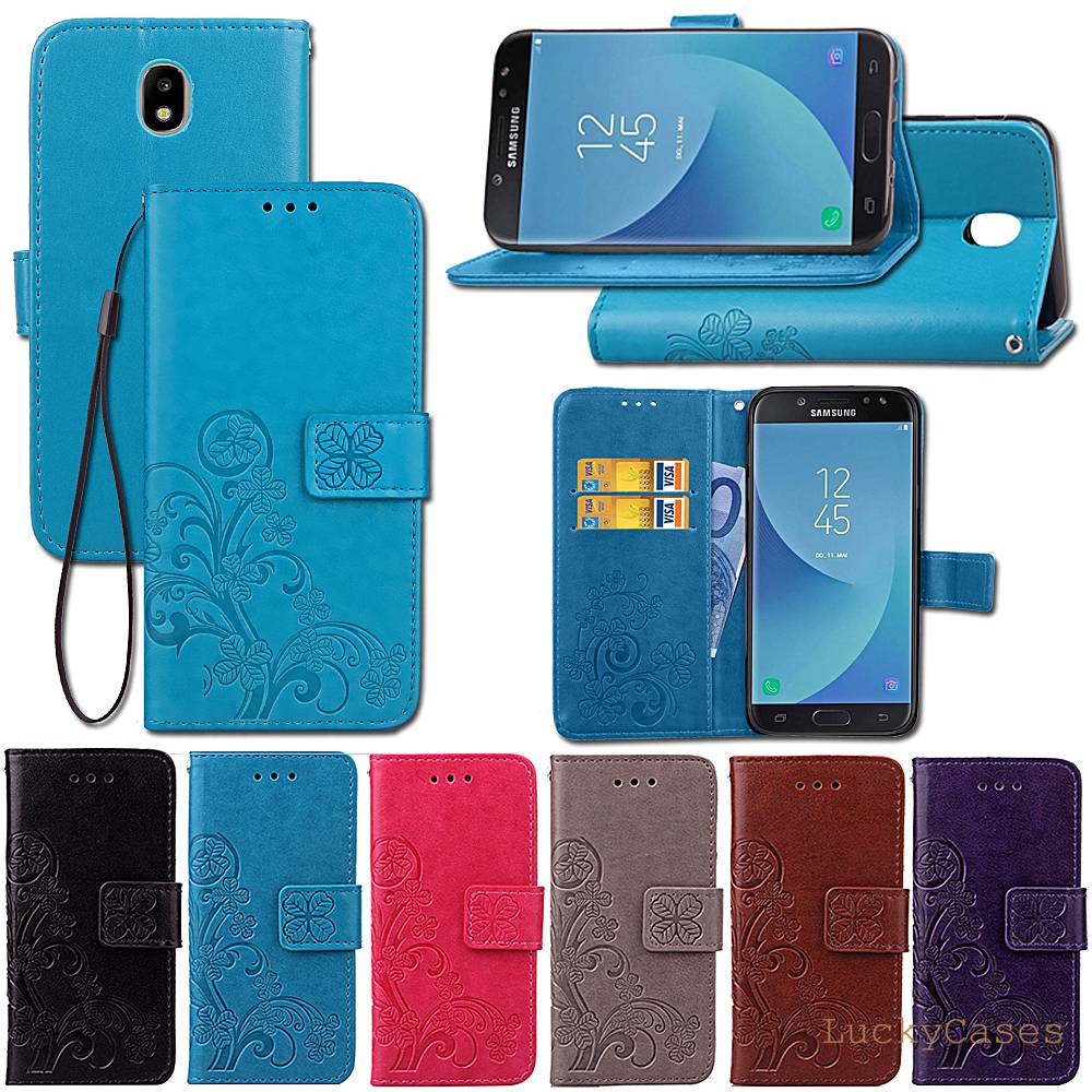Galleria fotografica Lucky Clover phone case For Samsung J7 2017 Europe Version J730F Embossing Flower Leather flip Retro Wallet With Card Slot