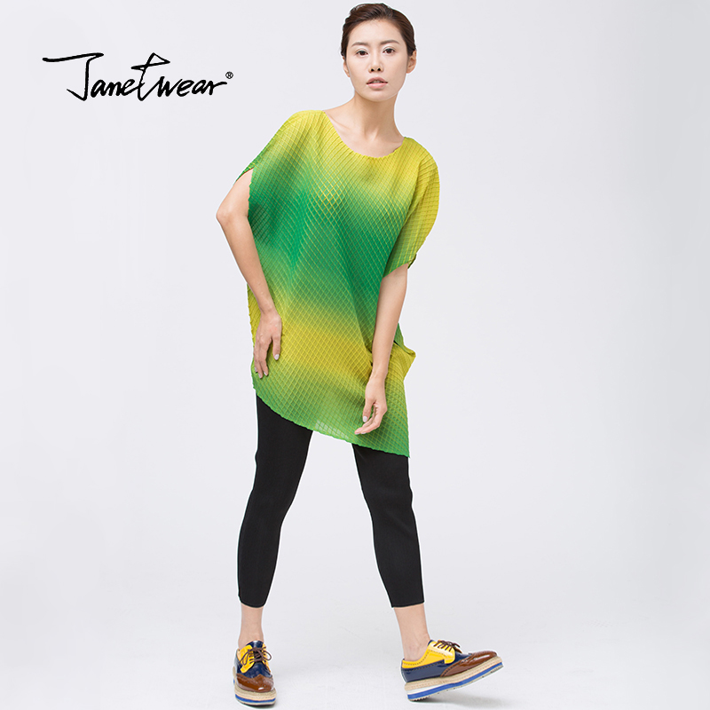 Paragraphe Plissé Army Tempérament Plier shirt Couleur T Ol Mode Long Green Lâche Asymétrique Miyake Gratuite Livraison q1tnSPq6