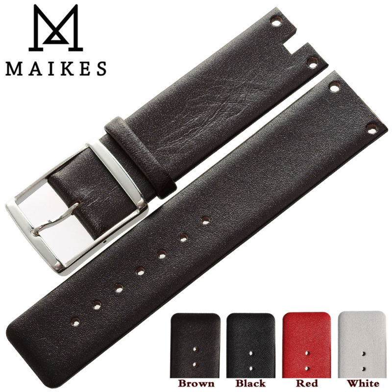 MAIKES Hot Sales Durable Genuine Leather Watch Band Strap Brown Red Soft Watchbands Case For CK Calvin Klein K94231
