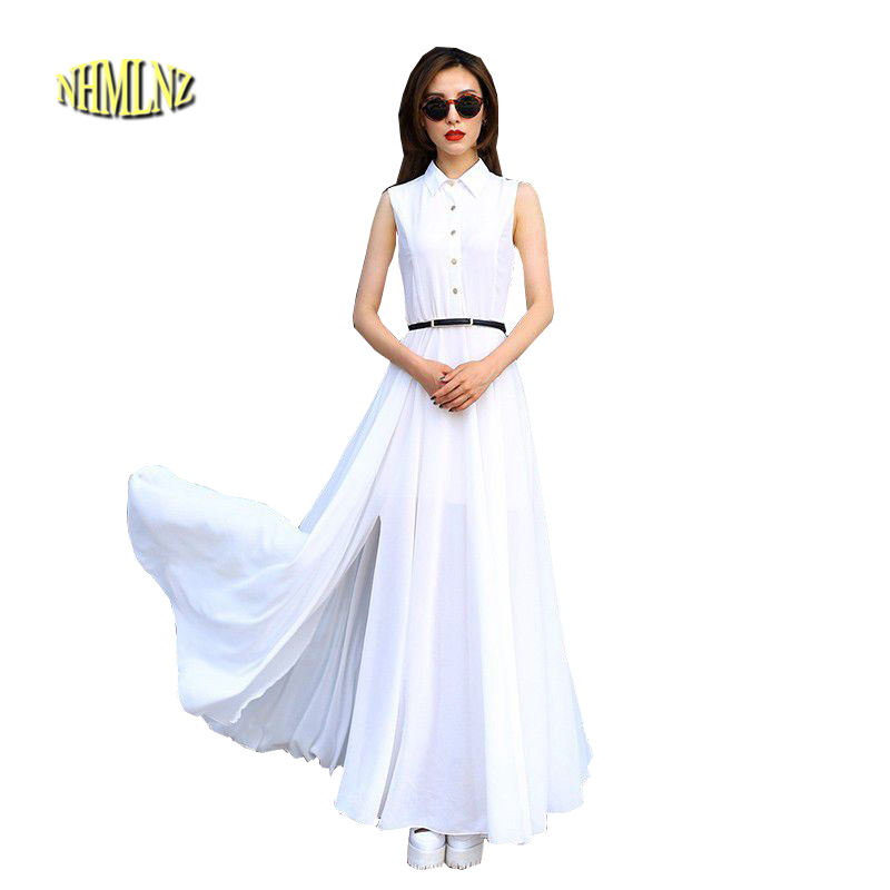 203a0e56f76d3 2018 Europ Tarzı Moda Kadın yaz elbisesi Zarif Ince Büyük metre Eğlence Elbise  Saf renk Bölünmüş Kolsuz Şifon Elbise G2395
