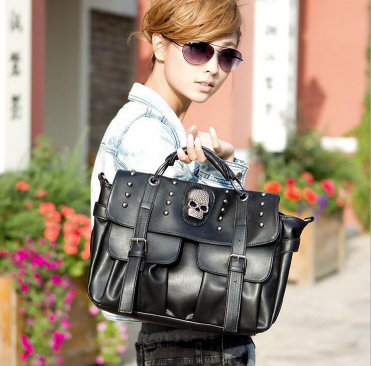 Newhotstacy Bag 120316 New Fashion Skull Rivet Single Shoulder Tote Bag