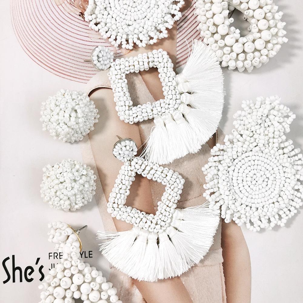 Bohemian White Beaded Earrings Handmade Seed Beads Tassel Drop Dangle Earrings For Women Statement Jewelry Big Brincos 2019 UKEN