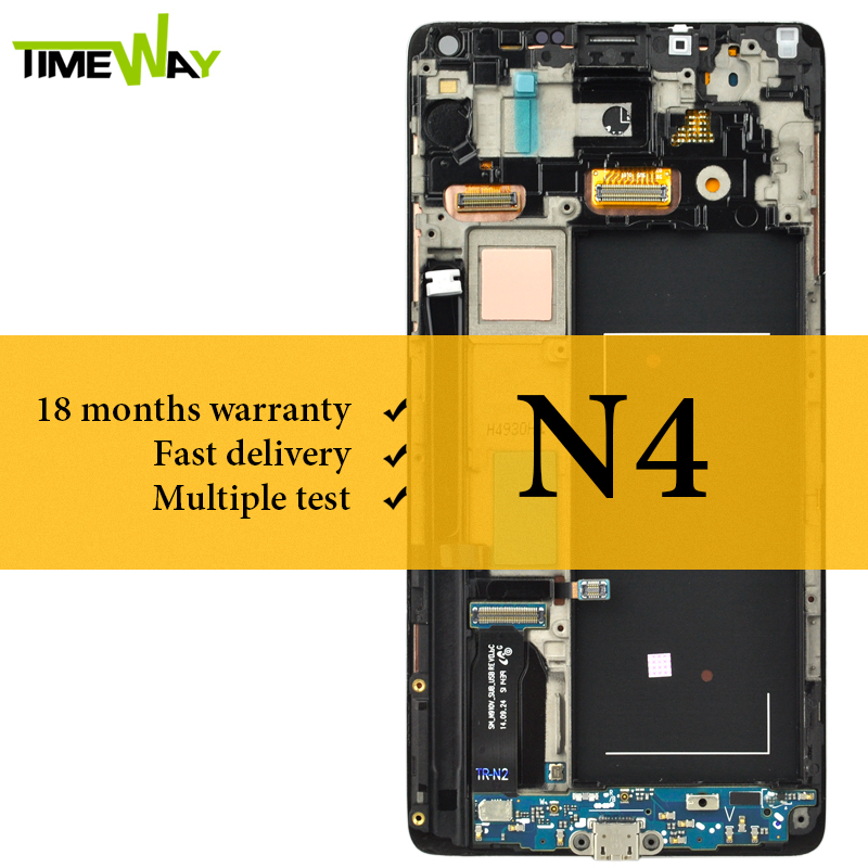 LCD For Samsung Note 4 LCD Screen With Frame Super AMOLED With Digitizer 5 6 Inch