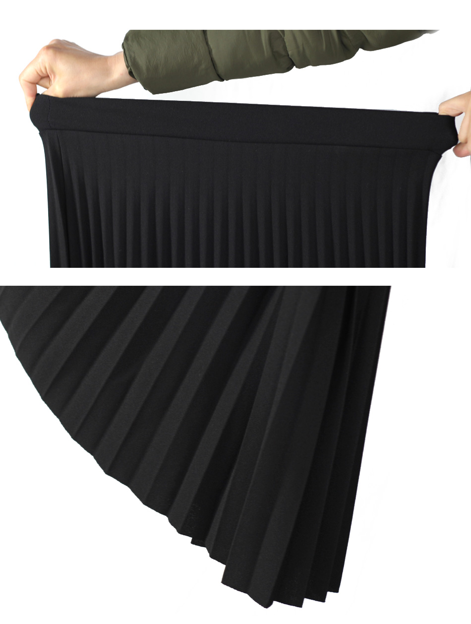 Aonibeier Fashion Women's High Waist Pleated Solid Color Length Elastic Skirt Promotions Lady Black Pink Party Casual Skirts 53