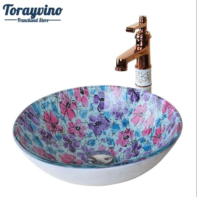 Torayvino Runde Glas Flora Waschraum Becken Vessel Vanity ...