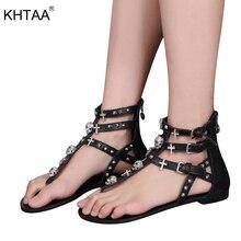 KHTAA Summer Women Gladiator Sandals Rhinestone Crosses Skull Thong Rome  Buckle Strap Flats Ladies Rivets Zip 8b4570d14cf3