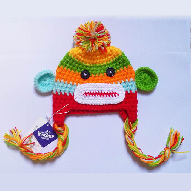Newborn Colorful Monkey Outfits Costume Photo Prop Handmade Knitted Clothing Photography  Caps Pants Giraffe Woolen Beanie