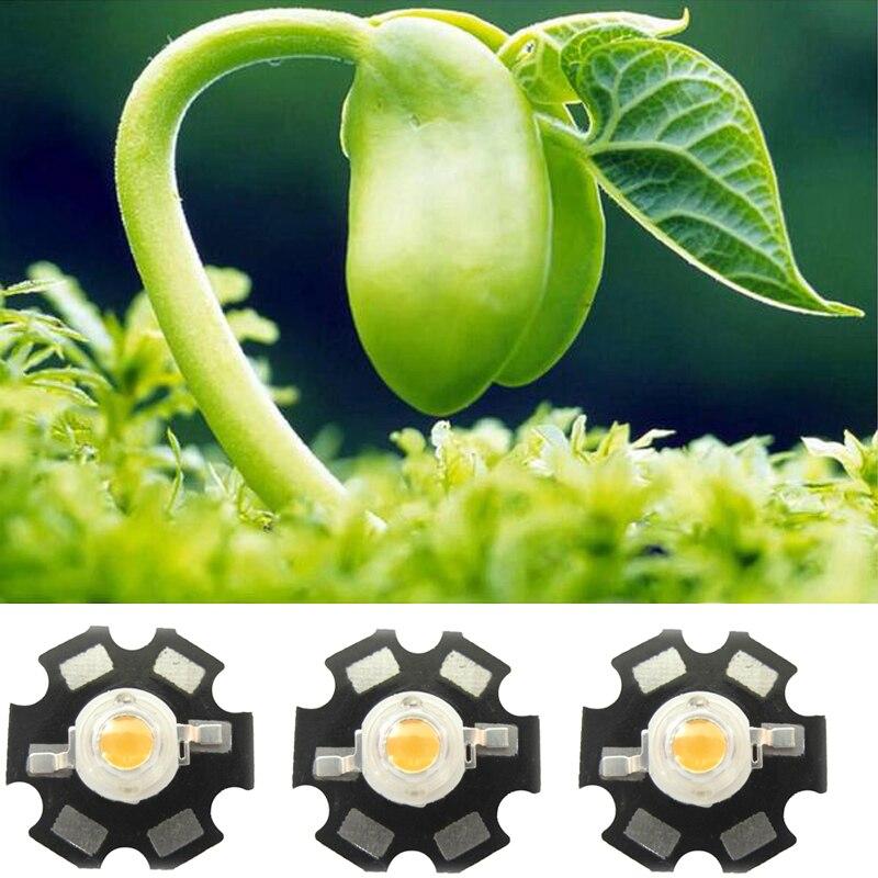 10 20 50 100 stücke 1 watt 30mil 3 watt 45mil Weiß Vollspektrum 385 ~ 780nm Led-dioden Emittierende Für Pflanze Wachsen Mit 20mm Stern Basis