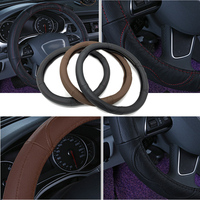 High Quality 38cm Breathable Genuine Leather Cowhide Steering Wheel Cover Anti Slip For VW Golf Audi