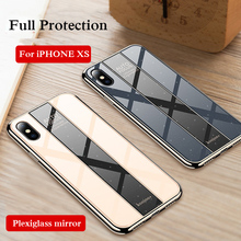 PHOPEER Case For iPhone X XS Max Luxury Plating TPU +PC Plexiglass Mirror Cover for XR R case