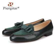 Piergitar 2019 Five colors Genuine Leather and Suede stitching with Bow tie Handmade Mens dress shoes luxurious Mens loafers