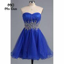 346310657 2018 Royer azul vestido de fiesta corto vestido de cóctel vestido de fiesta  con cristales amor moldeado tulle gasa vestido