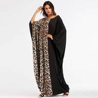 2019 Leopard Patchwork Women Abaya New Style Muslim Long Dress Arabic Dubai Kaftan Islamic Maxi Vestidos Bat sleeve VKDR1450