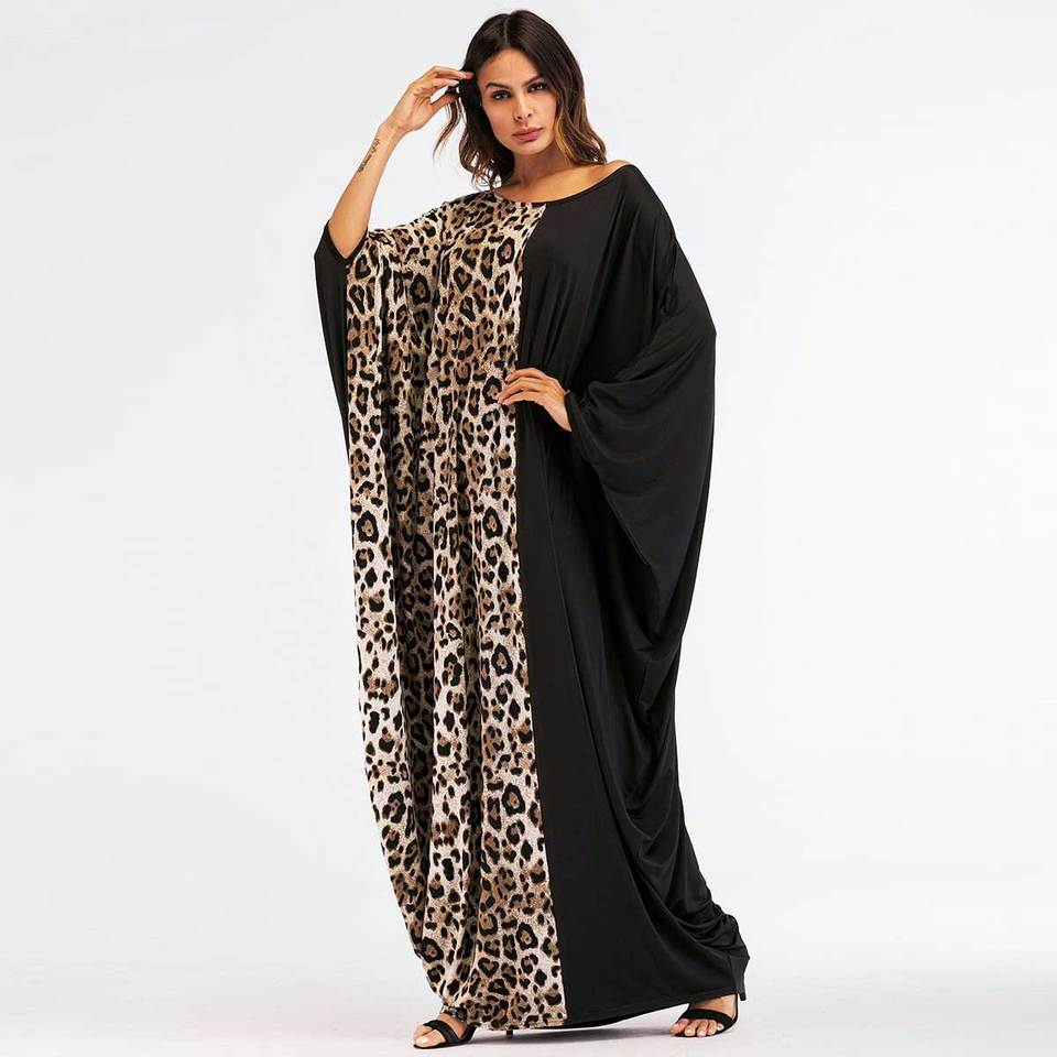 2020 Leopard Printed Patchwork Women Abaya Maxi Dress Eid Kaftan Ramadan Robe Chic Vestido Batwing Loose Gown Plus Size Vkdr1450 Islamic Clothing Aliexpress