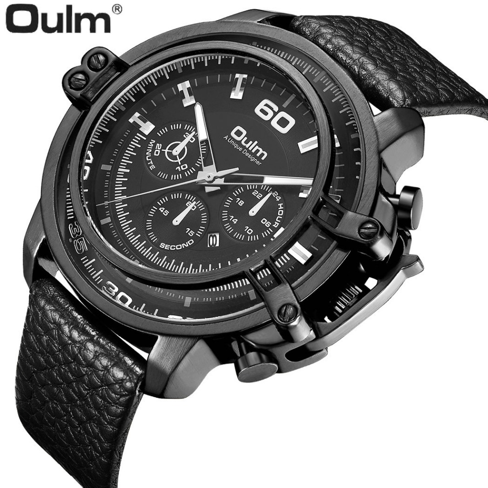 OULM Military Army Men Quartz Watch Genuine Litchi Leather Strap 3 Sub-dials Design Dial Top Brand Luxury Calendar Wristwatch mens watches oulm brand luxury military quartz watch unique 3 small dials leather